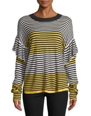 Buffalo David Bitton Striped Ruffle-Sleeve Sweater