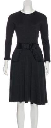 Lanvin Bow-Accented Wool Dress