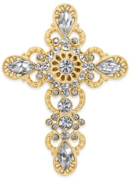 Holiday Lane Gold-Tone Crystal Cross Pin, Created For Macy's