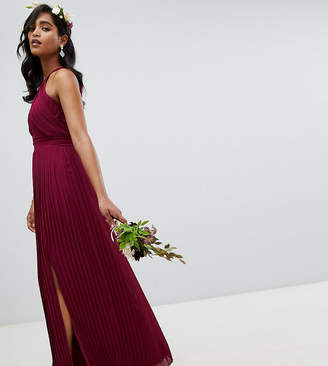TFNC pleated bridesmaids maxi dress in burgundy