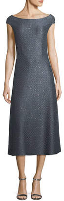St. John Spark Sequin Boat-Neck Cocktail Midi Dress