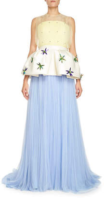 DELPOZO Pleated Tulle Gown w/Removable Peplum, Blue