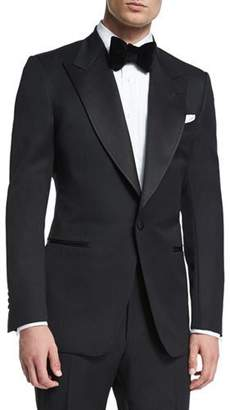 TOM FORD Windsor Base Peak-Lapel Tuxedo, Black $5,200 thestylecure.com
