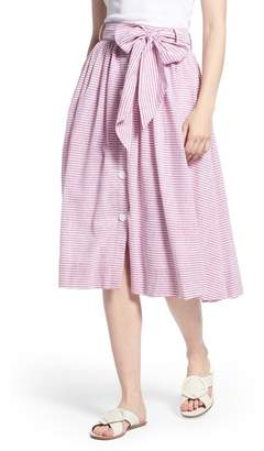 1901 Bow Button Up Stripe Skirt (Regular & Petite)
