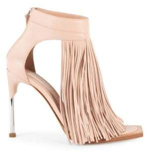 Alexander McQueen Women's Leather Fringe Ankle-Strap Sandals - Pink - Size 36 (6)