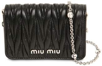 Miu Miu Mini Leather Card Holder W/Crystal Strap