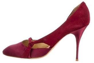 Chloé Satin Round-Toe Pumps