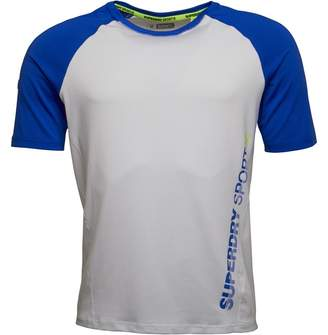 Superdry Mens Sports Active Relaxed T-Shirt White/Cobalt