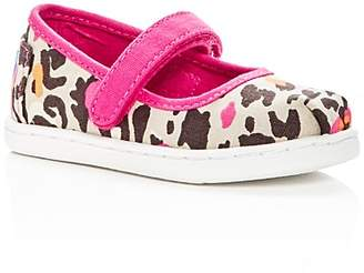 Toms Girls' Leopard Print Canvas Mary Jane Flats - Baby, Walker, Toddler