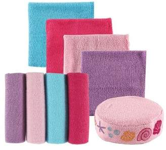 Luvable Friends 8 Piece Washcloths and Bonus Sponge, Pink Shell by
