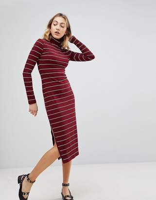 Walter Baker Carmella Stripe Roll Neck Midi Dress
