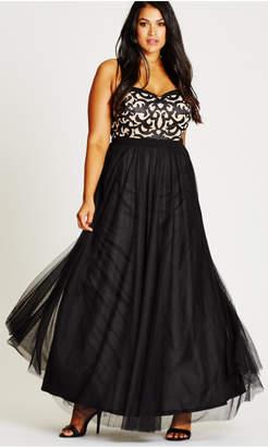 City Chic It Girl Strapless Black Maxi Dress
