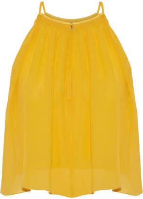 Apiece Apart Galisteo Smocked Silk-crepon Top - Mustard