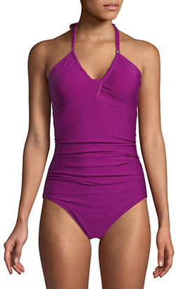 Calvin Klein Solid Twist One-piece Swimsuit
