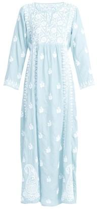 Muzungu Sisters - Floral Embroidered Silk Dress - Womens - Light Blue