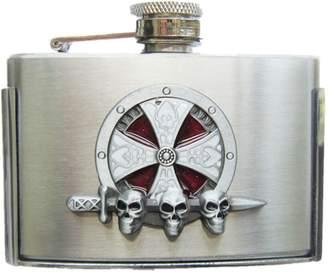 Celtic JEAN'S FRIEND Enamel Iron Cross Knot 3 oz Stainless Steel Flask Belt Buckle