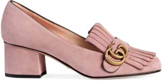 Gucci Suede mid-heel pump with Double G
