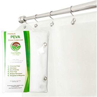 Clean Healthy Living Premium PEVA Shower Liner/Curtain: Odorless & Mildew Resistant (with Magnets & Suction Cups). Eco Friendly 70 x 71 in. long - Frost Color