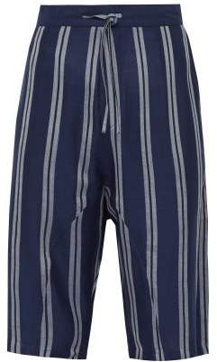Denis Colomb Globetrotter Striped Silk Shorts - Mens - Navy Multi