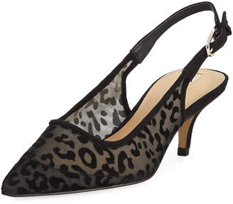 Elie Tahari Saint Leopard Mesh Kitten-Heel Slingback Pumps