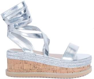 e13f1aaeb58 at Missy Empire · Missy Empire Missyempire Jolene Silver Tie Up Espadrille  Platform Sandals