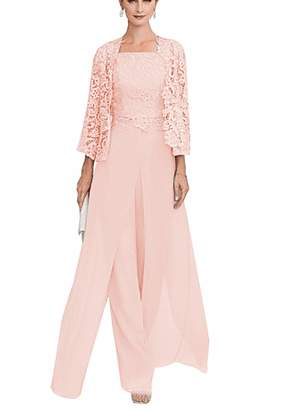 40b518ad6d65 TBB Women's Formal 3 Pieces Chiffon Mother of The Bride Dress Pant Suits  with Lace Jacket