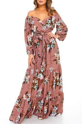 Va Va Voom Off-Shoulder Floral Maxi
