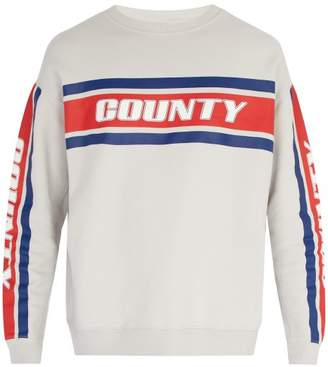 Marcelo Burlon County of Milan Striped Cotton Sweatshirt - Mens - Grey