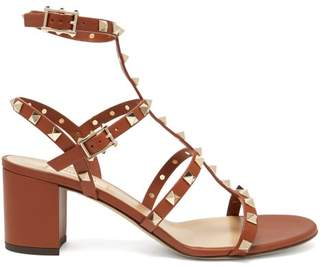 Valentino Rockstud Block Heel Leather Sandals - Womens - Dark Tan