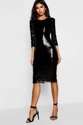 boohoo Boutique Sequin Power Shoulder Midi Dress