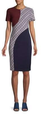 Eliza J Colorblock Swirl Crepe & Tweed Sheath Dress