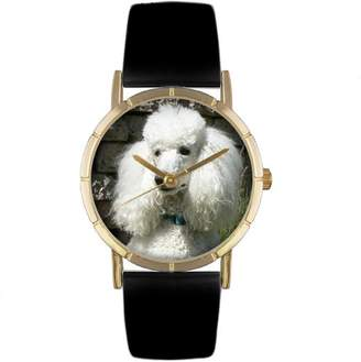Whimsical Watches Kids' P0130059 Classic Poodle Black Leather And Goldtone Photo Watch