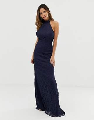 Liquorish halterneck maxi dress with lace overlay and trim detail