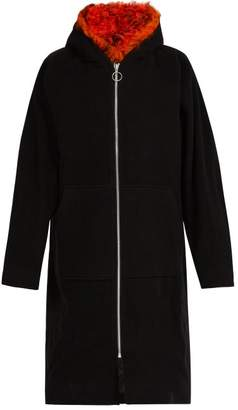 Marques Almeida Marques'almeida - Shearling Trim Hooded Wool Blend Coat - Mens - Black