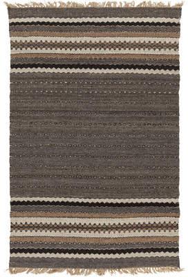 Union Rustic Auburn Gray/Brown Stripe Area Rug