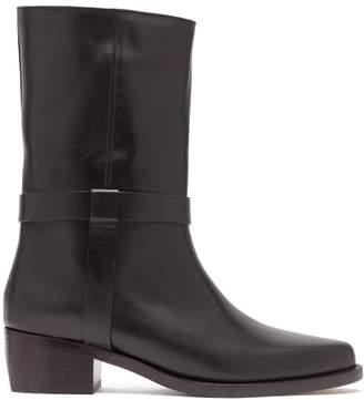 Legres - Strap Embellished Leather Biker Boots - Womens - Black