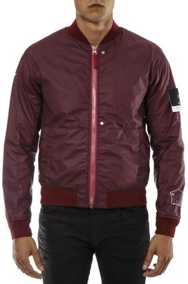 Stone Island Shadow Project Red Waterproof Bomber Jacket With Back Contrasting Print