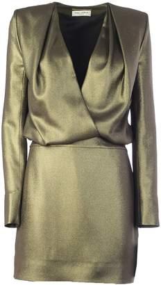 Saint Laurent Mini Lame Vintage Short Gold Lurex With Lined Shoulder