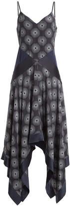 Diane von Furstenberg Printed Silk Dress with Scarf Hemline
