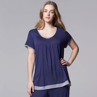 Vera Wang Plus Size Simply Vera Pajamas: Basic Luxury Pajama Top