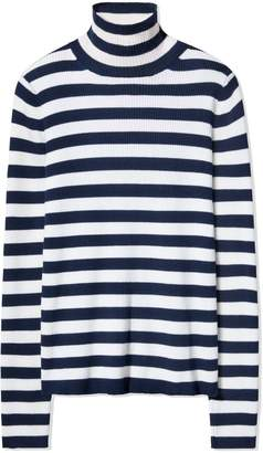 Tory Sport Tory SportTory Burch STRIPED RIBBED MERINO TURTLENECK SWEATER