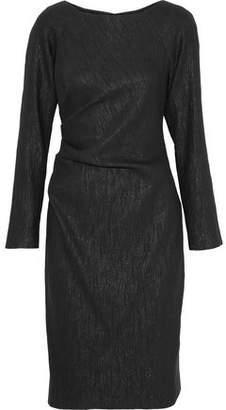 Lela Rose Gathered Crinkled Metallic Cotton-Blend Dress