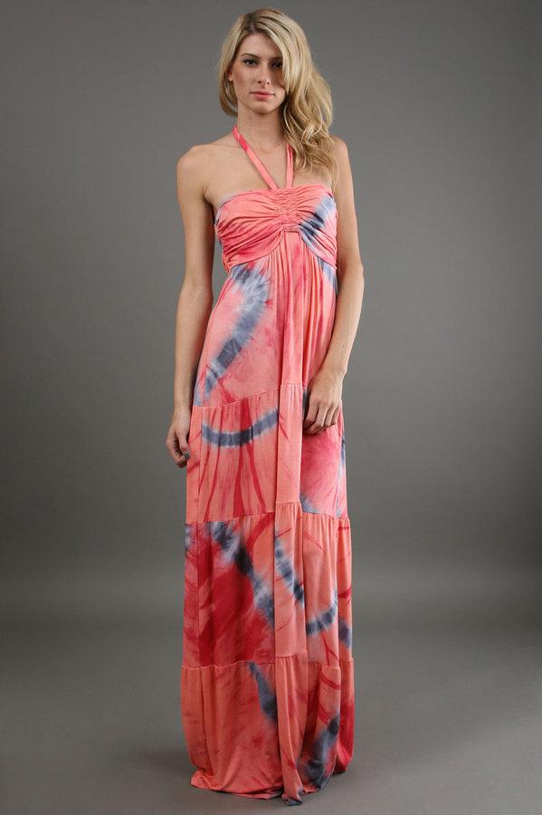 Hale Bob Tie Dye Maxi Dress in Coral