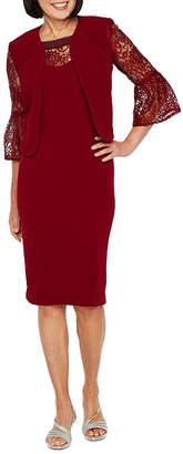 MAYA BROOKE Maya Brooke 3/4 Bell Sleeve Embellished Jacket Dress