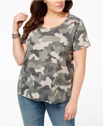 Style&Co. Style & Co Plus Size Camo-Print T-Shirt, Created for Macy's