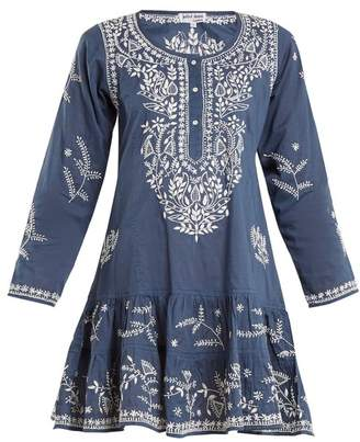 Juliet Dunn Round Neck Embroidered Cotton Kaftan - Womens - Blue Multi