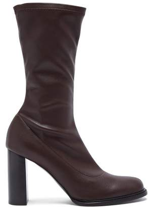 Stella McCartney Block Heel Faux Leather Boots - Womens - Burgundy