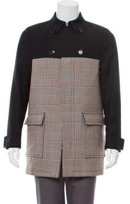 Valentino Wool Leather-Accented Coat