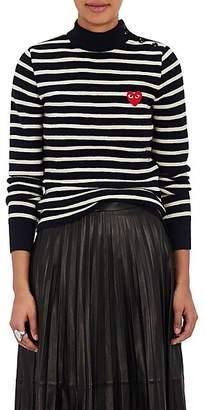 Comme des Garcons Women's Striped Wool Sweater - Navy
