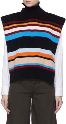 MRZ Convertible stripe wool-cashmere button turtleneck sweater